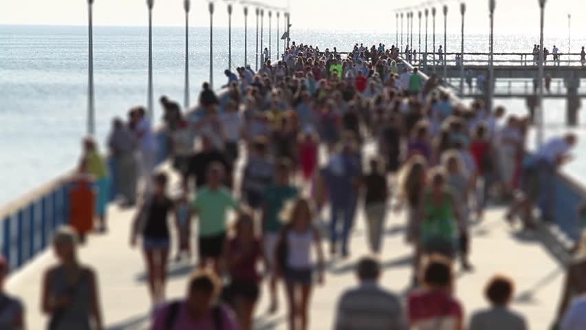 crowded pier, tilt-shift