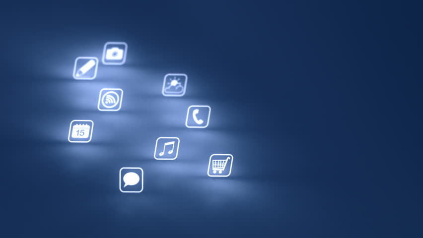 Glowing Mobile App Icons Blue (Two Clips)