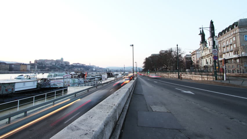 BUDAPEST - CIRCA MARCH 2012:  (Timelapse View) European City at dusk circa March 2012 in Budapest. - HD stock footage clip