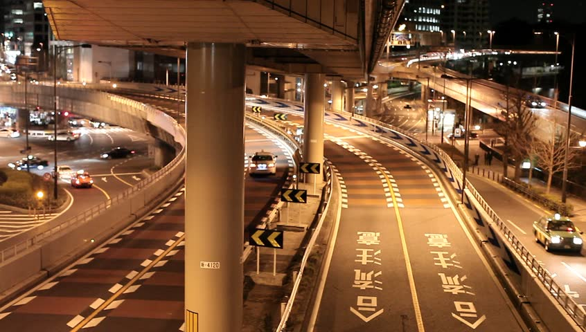 Metropolitan Highway With Cars At Night In Tokyo, Japan ...