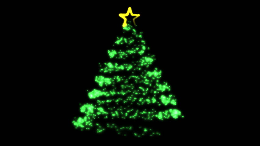 Flowing Light Christmas Tree (HD). Computer Animated