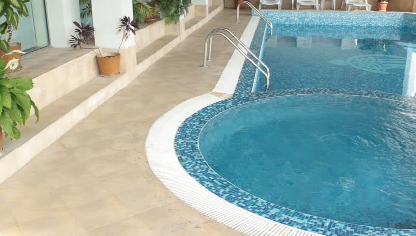 Pool interior with jacuzzi panorama - HD stock video clip