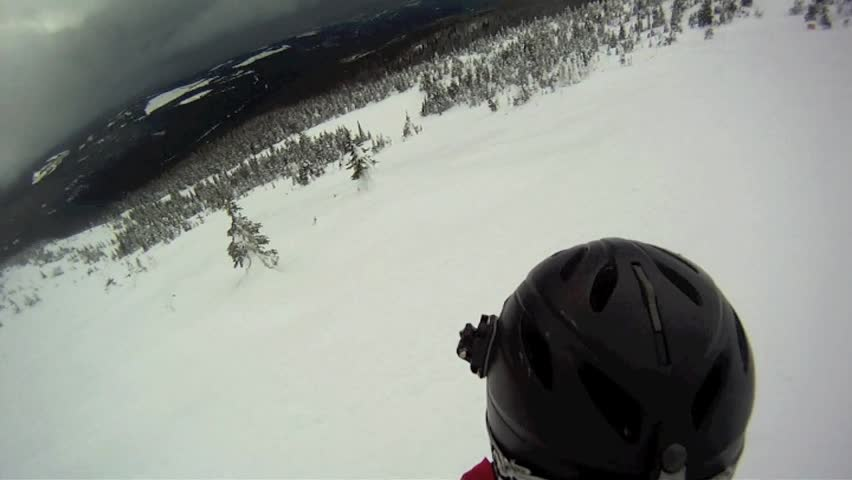 First Person Snowboarder on Open Slope with a Crash