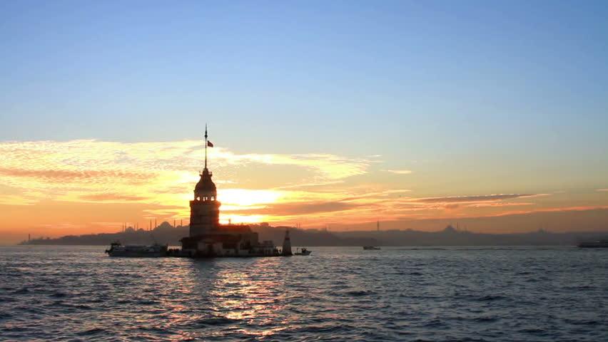 Sunset and reflections. Kizkulesi, Istanbul.