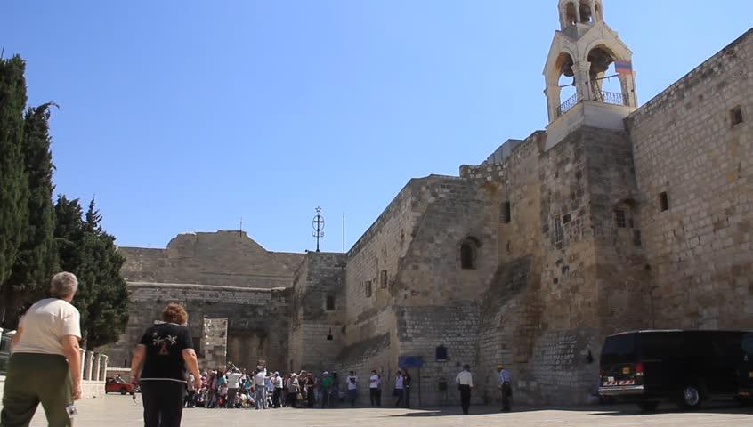 Pilgrims at the Church of the Nativity in Bethlehem, Israel - HD stock video clip