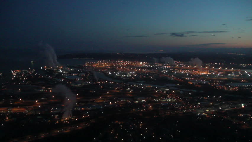Overhead view across Tacoma and Commencement Bay in early morning | Shutterstock HD Video #2121746