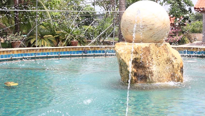 Rock Ball in a fountain - HD stock video clip