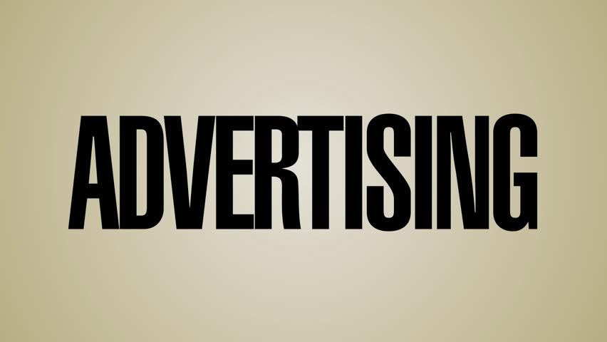 A looping, vertical carousel of words relating to advertising. This file