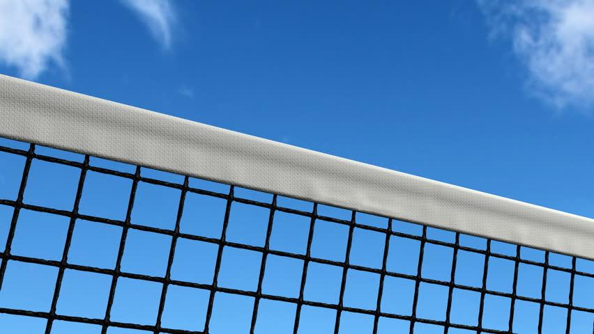 tennis ball hitting net (with alpha) - HD stock video clip