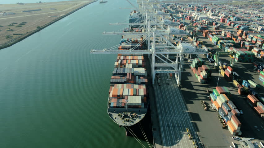 Aerial view of container ship anchored in the Port of Oakland loaded with containers, San Francisco, North America