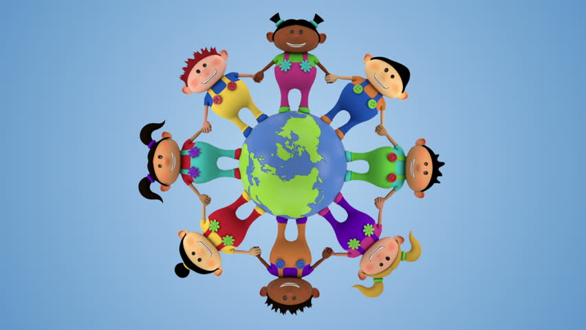 cute multi-ethnic kids holding hands around spinning globe - high quality 3d animation - loopable  - HD stock footage clip