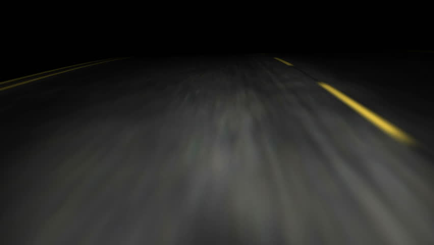 3D animation of a road trip on an empty road at night - HD stock footage clip