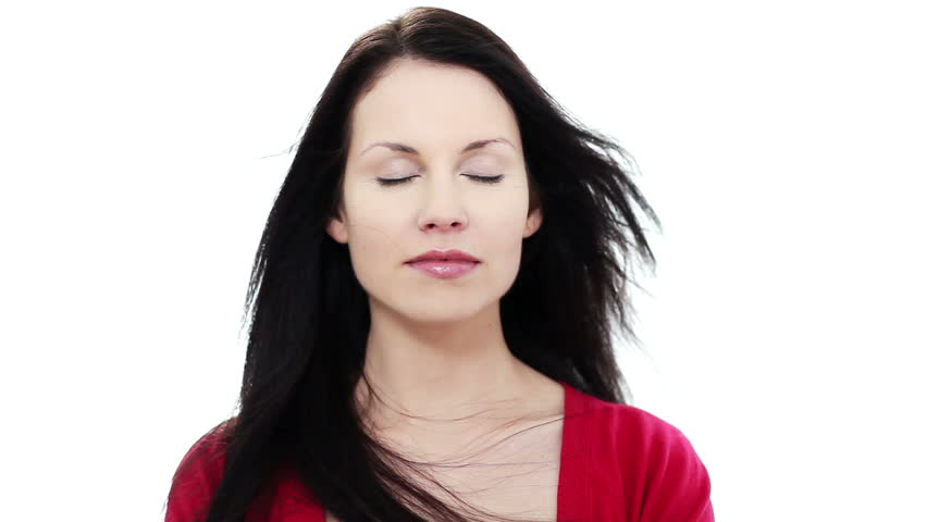 Beautiful woman with closed eyes - HD stock footage clip