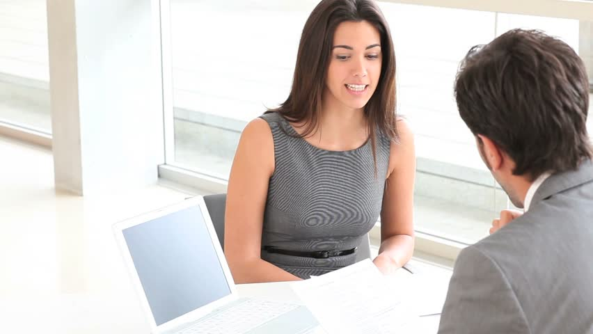 Businessman interviewing job applicant