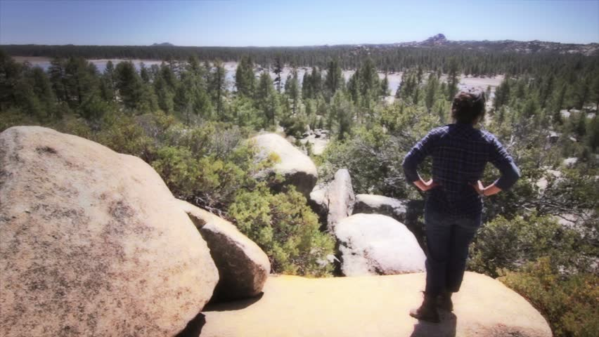 Hiker in High Mountain - HD stock footage clip
