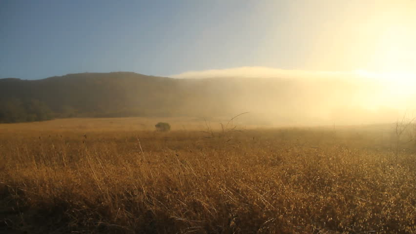 Fog rolling over a mountain/field landscape - HD stock footage clip