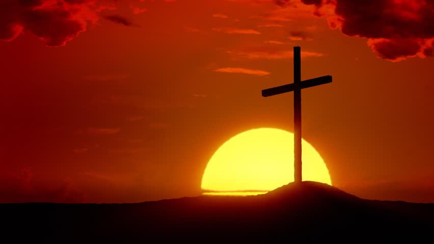 The Risen Christ: Time lapse sunrise behind Calvary Cross