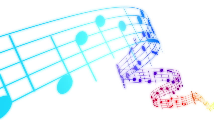 Rainbow Notes On Light Background Stock: Music Notes Flowing On White Background. Seamless