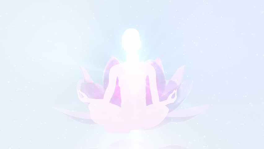 Lotus Meditation. Young woman meditate, showing the seven chakras. - HD stock footage clip