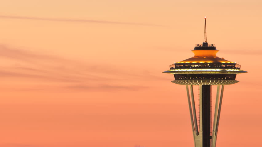 SEATTLE, USA - MAY 12, 2012: Timelapse of Seattle Space Needle during sunset.