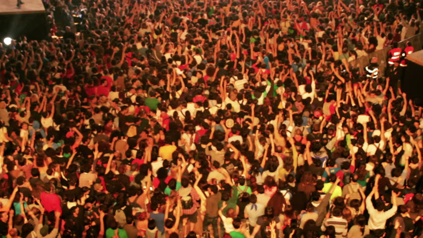 Crowd of people at concert - HD stock video clip