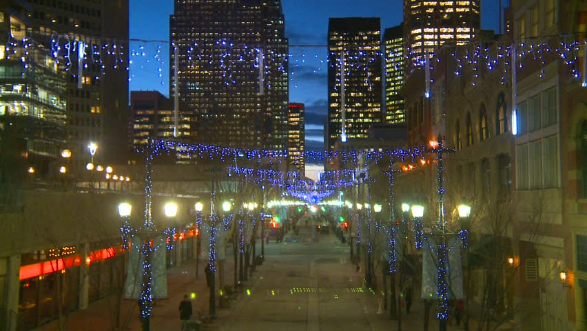 Calgary, Alberta, Canada, ca.2012, Stephen Ave mall with Christmas lights - HD stock video clip