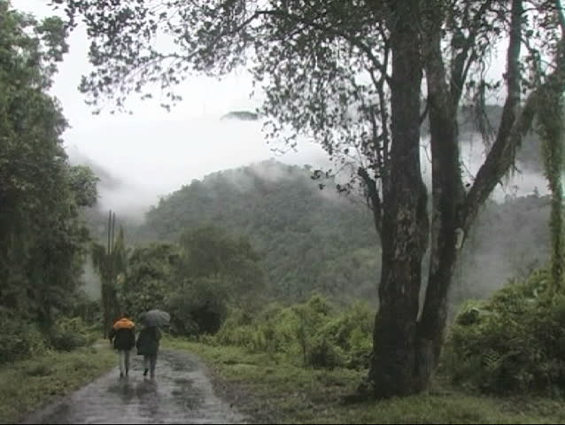 A rainy day in Arunachal Pradesh, India.  Couple walking on a rough road in the Himalayas mountain. - SD stock footage clip