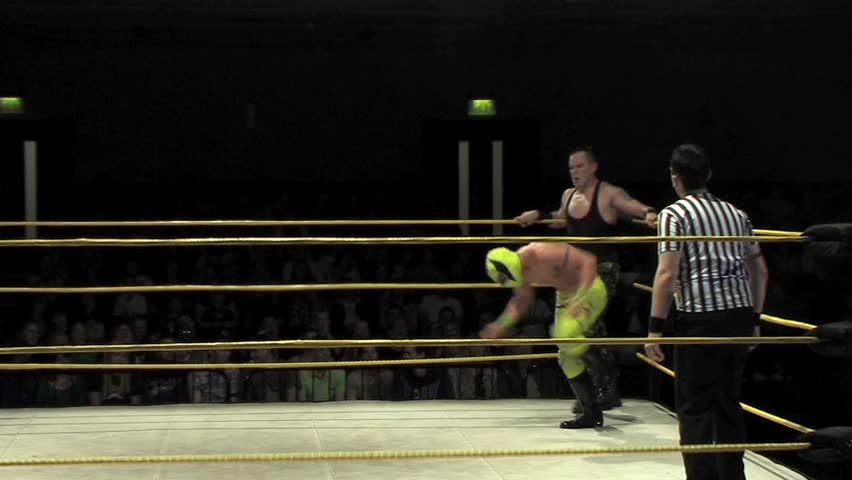 PORTSMOUTH - OCTOBER 9: Slam and Finish during a VPW Wrestling Show on October 9, 2011 in Portsmouth, England. - SD stock footage clip