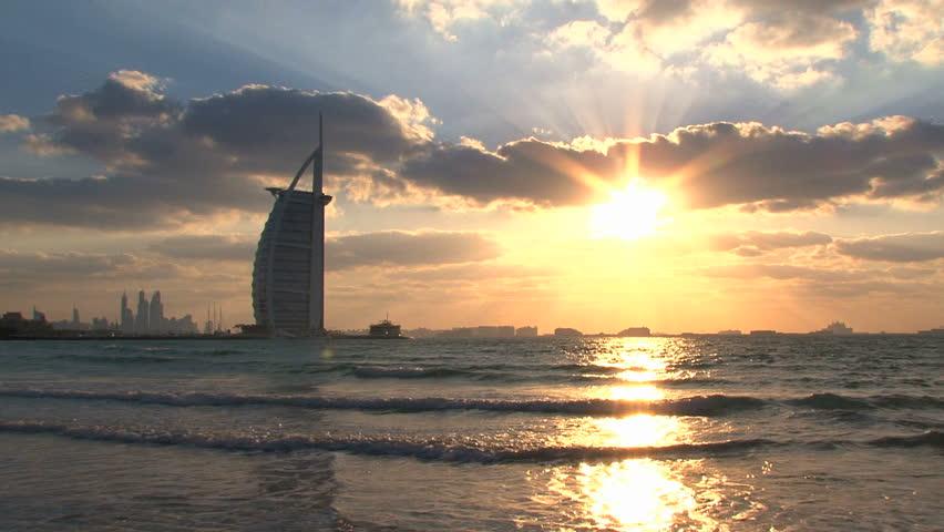 DUBAI - CIRCA 2012: The Burj al Arab hotel by the coast located in Dubai