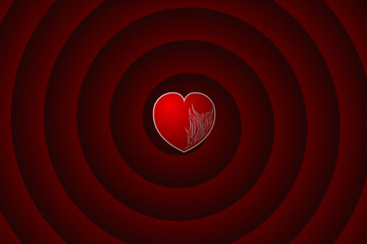 fireheart -animated heart on spiral background. blue -chromakey.(NTSC version) - SD stock video clip