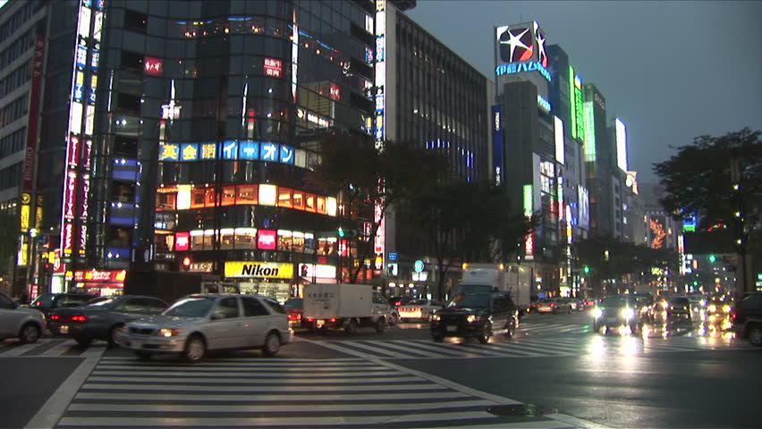 View of City Street at night in Tokyo Japan - HD stock footage clip