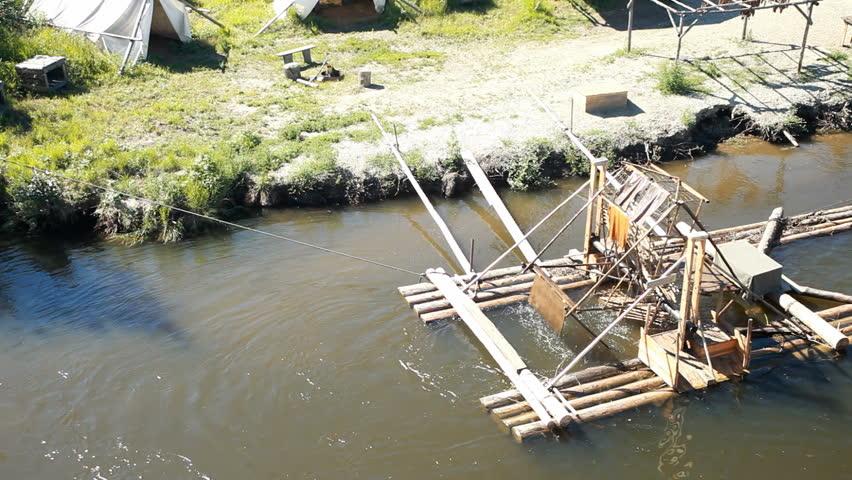 Fish wheel from cruise ship on remote river near fairbanks for Fishing in fairbanks alaska