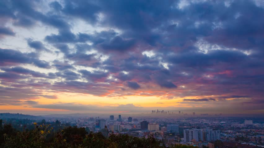 Beautiful sunrise over Los Angeles. Timelapse.