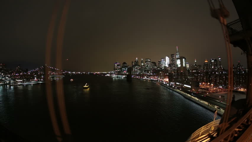 New York City downtown financial district night seen from car on Brooklyn Bridge | Shutterstock HD Video #24252305
