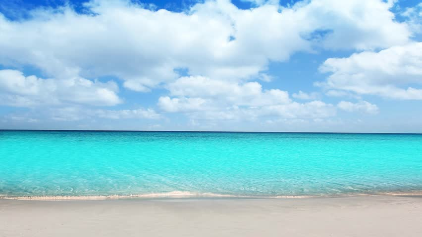 Idyllic tropical turquoise beach in caribbean sea with white sand shore #2432417