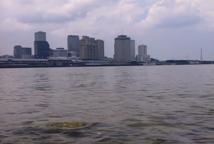 NEW ORLEANS - Circa 2002: Louisiana Superdome in the New Orleans skyline in 2002. - SD stock footage clip