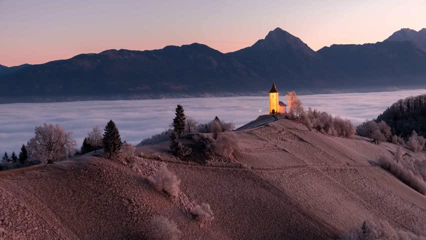 4k time-lapse of sunrise at Jamnik hill in Slovenia. #24550673