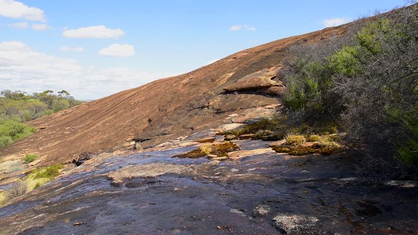 Magmatic rock, monolith, geological formation, granite rock, Australian Outback, Wheatbelt, Western Australia, Australia, Down Under, Video
