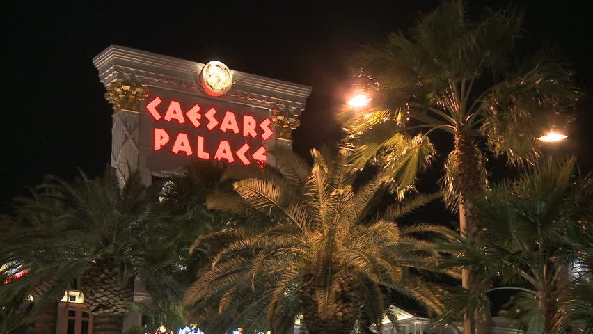 LAS VEGAS - MARCH 1: Caesars Palace Resort at night on March 1, 2012 in Las