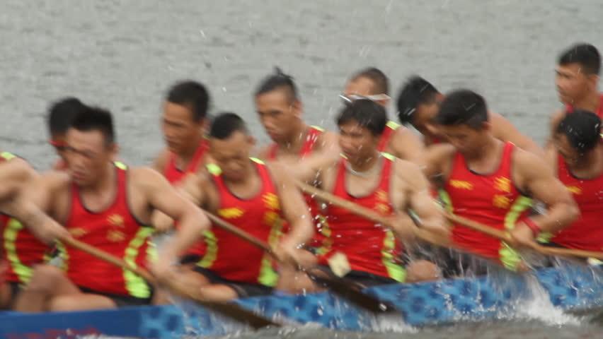 HONG KONG, CHINA - JUNE 23: Dragon Boat Racing in Hong Kong. Dragon boat racing
