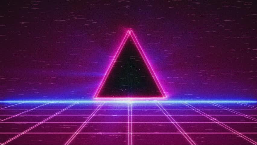 Retro Futuristic, Flight over the grid, 80s Retro Sci-fi.