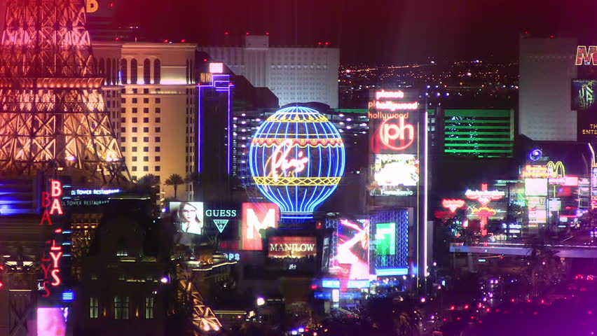 LAS VEGAS - JUNE 10: Scenic view of the casinos and resorts on the Las Vegas Strip at night on