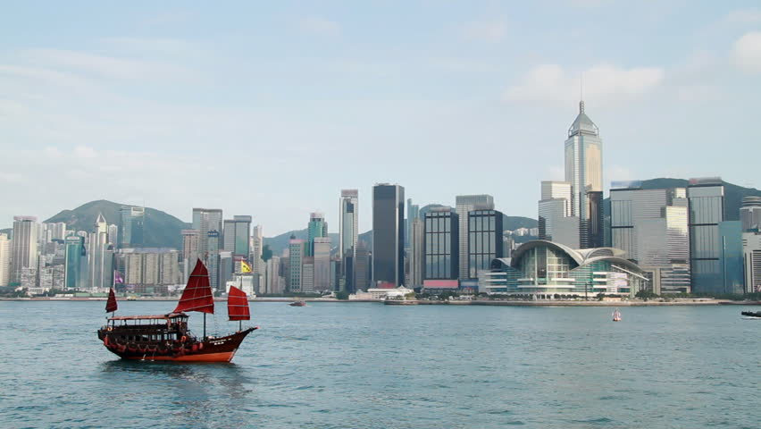 Chinese Junkboat sailing across Victoria Harbour, Hong Kong.