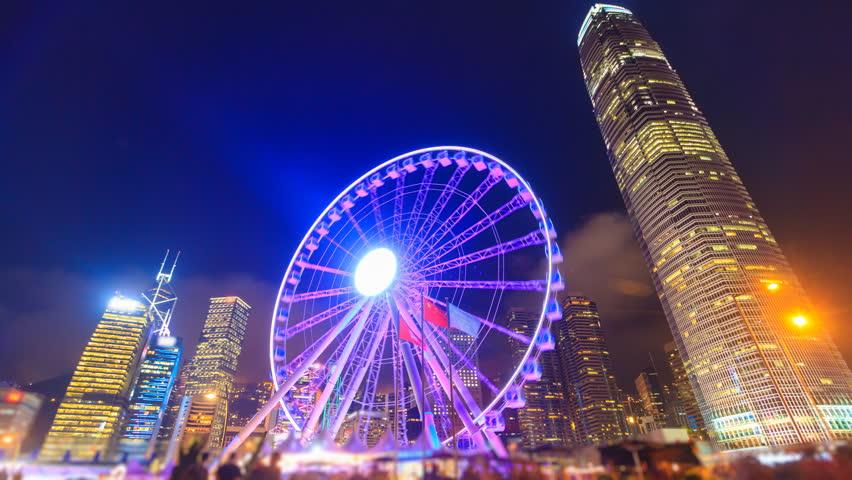 Night Hong Kong Observation Ferris Wheel Landmark Travel Places Of Hong Kong 4K Time Lapse | Shutterstock HD Video #25035152