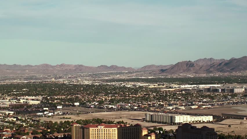 Outskirts of Las Vegas. Bird's-eye view. Plane taking off. - HD stock video clip