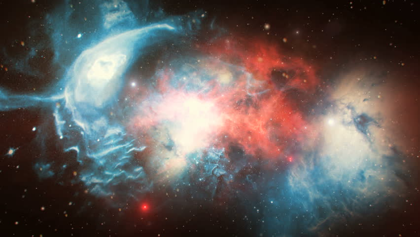 3D animation of space flight through red and blue nebula; suitable for scientific presentations and sci-fi projects | Shutterstock HD Video #25077965