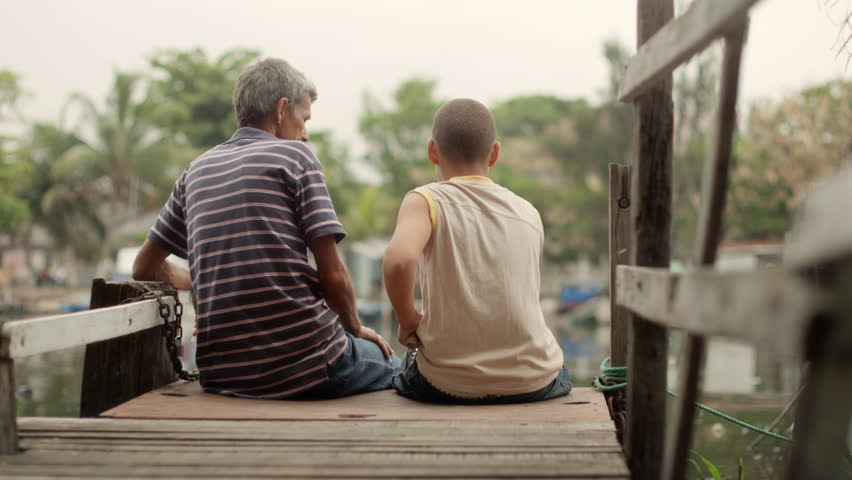 People and family recreation, senior man and boy fishing together on lake | Shutterstock HD Video #2508170