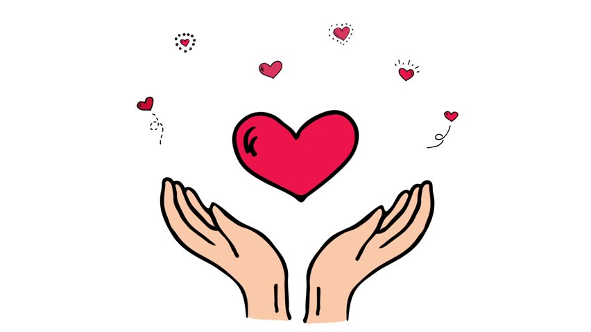 Hand drawn cartoon style doodle Donation symbol icon - open hands with beating hearts. Sketch charity animation.Cartoon donate elements: heart, human hands, care, help, gift, giving hand, fund raising | Shutterstock HD Video #25107188