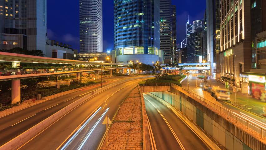 Hong Kong Night Traffic Cityscape 4K Time Lapse | Shutterstock HD Video #25161701