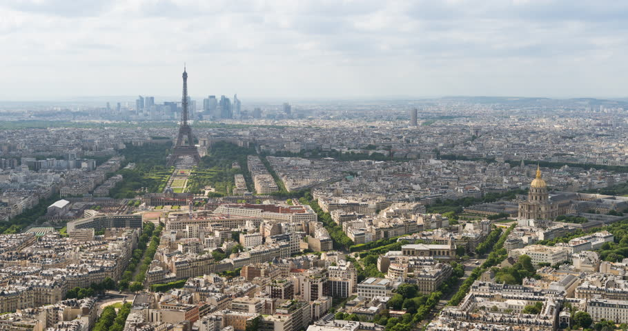 Paris, France timelapse. Eiffel Tower and Invalides Quarter seen from a high angle.   Shutterstock HD Video #25172339